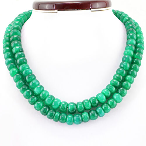 882.00 cts Earth mined 2 Strand forme ronde riche vert émeraude Perles Collier