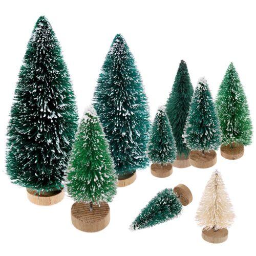 5x……Mini Sisal Bottle Brush CHRISTMAS Tree Santa Snow Frost Village Putz House