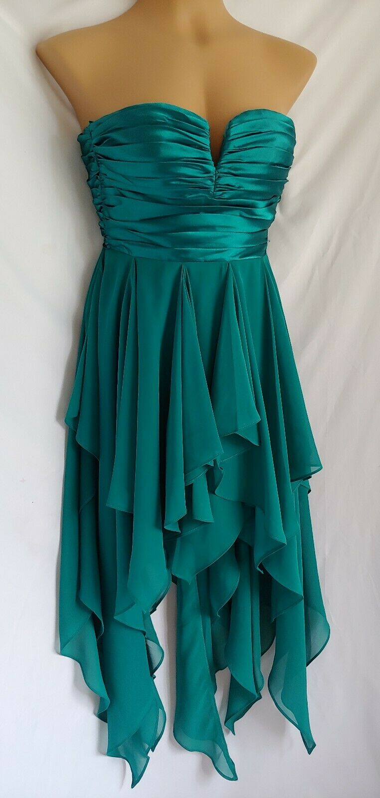 Reign On Teal Satin And Chiffon Asymmetrical Hem Strapless Gown Size 1/2