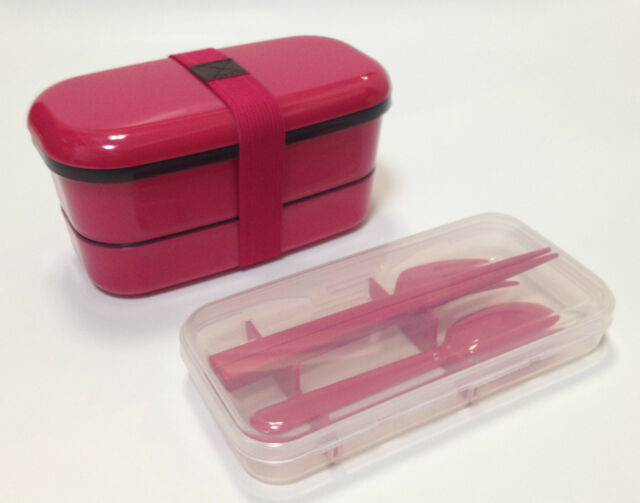 Japanese 2-tier bento lunch box & cutlery set in pink new from Japan!