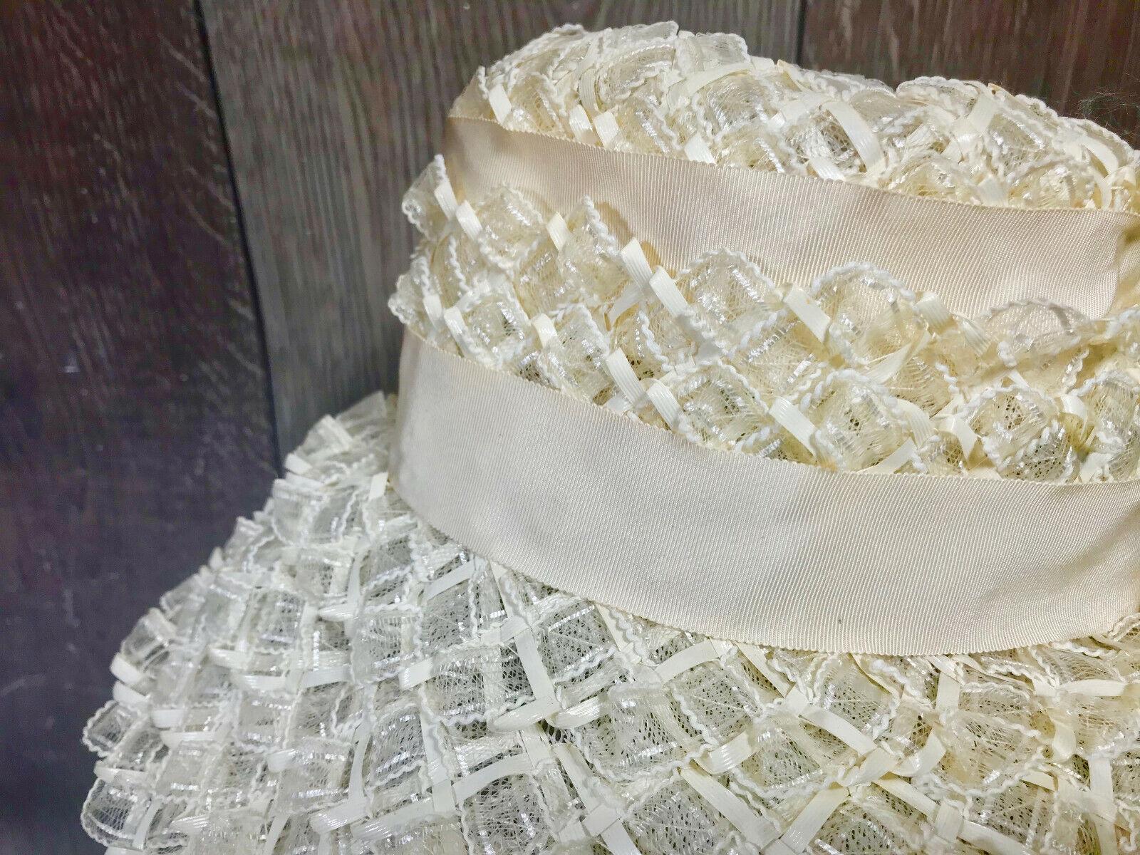 Vintage Ladies Summer Faux Layered Straw W/ Ribbo… - image 10