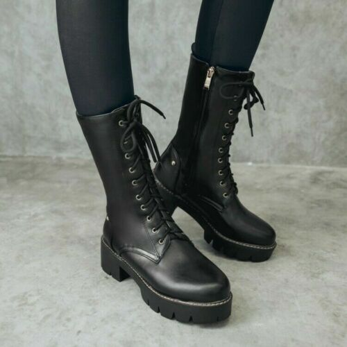 Women Low Heels Lace Up Mid-calf Boots Punk Vintage Gothic Clubwear Party Shoes