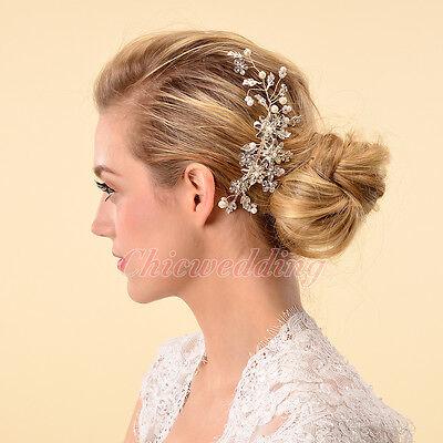 Elegant Bridal Hair Comb Pearl Crystal Rhinestone Hair Pin Wedding Accessory