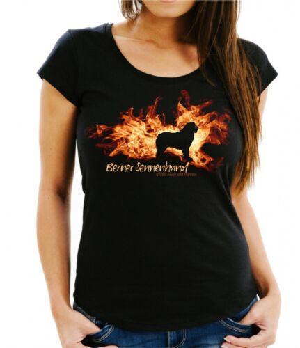 Damen T-Shirt BERNER SENNENHUND FEUER UND FLAMME by Siviwonder Hundemotiv