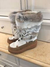 Genuine Oscar Sport Fur & Leather Winter Boots Made By Hand In Italy Size 38 EUC
