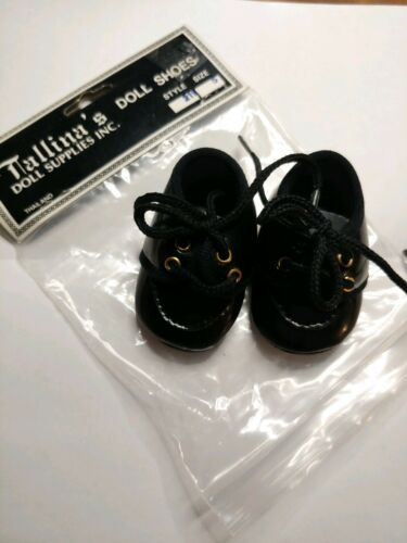 "TALLINA/'S DOLL SHOES BLACK FLAT LACE UP SHOES  SIZE 5 2-3//4/"" LONG"