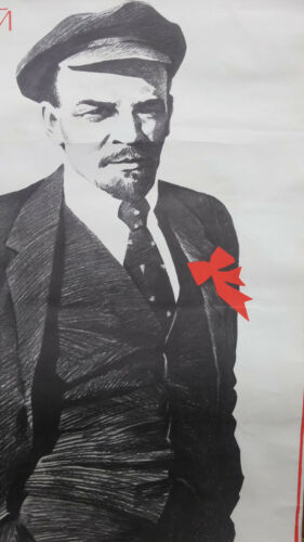 1988 LENIN THE MOST PEOPLE PERSON WITH RED RIBBON POSTER USSR
