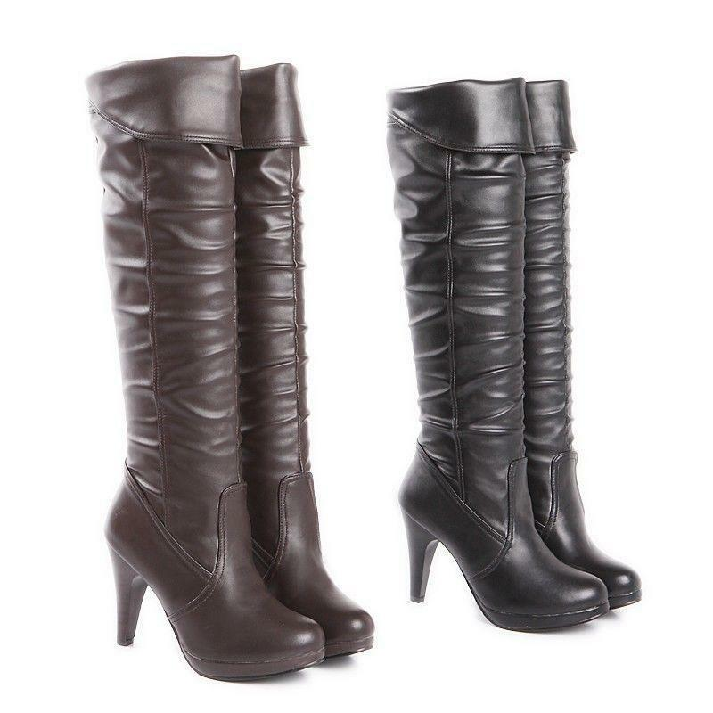 Womens shoes Platform High Heel Side Zip Fashion Over Knee Boots US Size 5-12.5