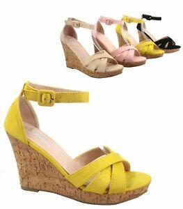 Women-039-s-Ankle-Strap-Buckle-Open-Toe-Wedge-Platform-Sandal-Shoes-Size-5-10
