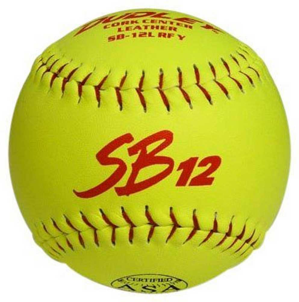 Dudley ASA SB 12L 12  Modified Slow Pitch Yellow Softballs, 1 Dozen. 4A137Y