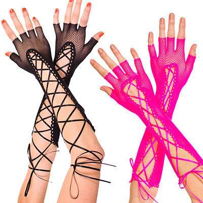 Black Fishnet Mesh Gloves Long Laced Up Arm Warmers Dance Halloween Goth Gothic
