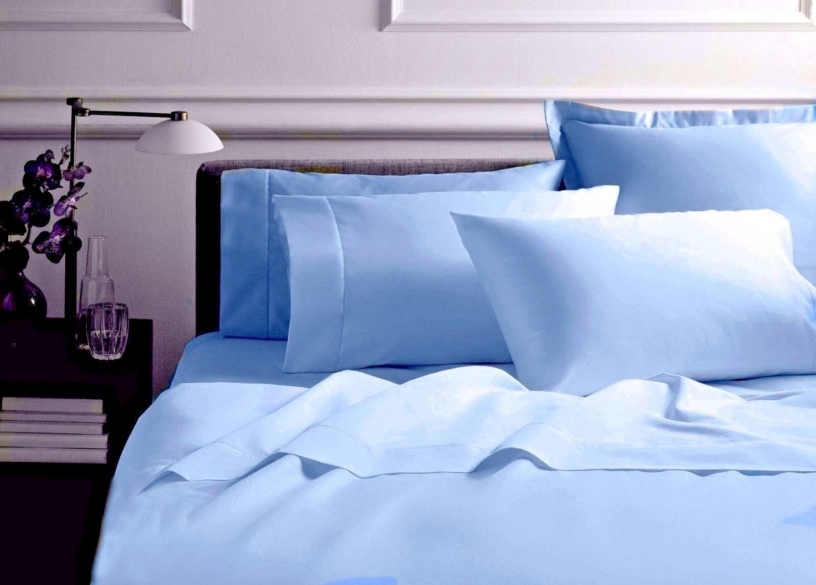 Organic Cotton Bett Sheet Set Sanft and Luxurious-350TC-All Größe-Blau -free bag
