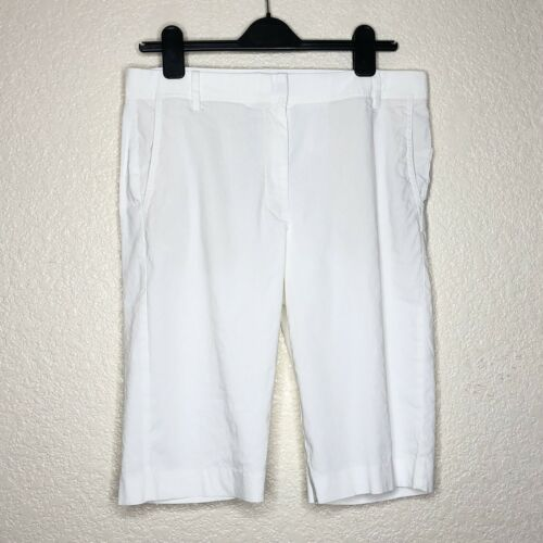 Babaton White Linen Blend Bermuda Shorts Knee Leng