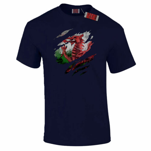 Torn Wales Flag Welsh Dragon Six Nations Rugby Patriotic Pride T-Shirt S-5XL