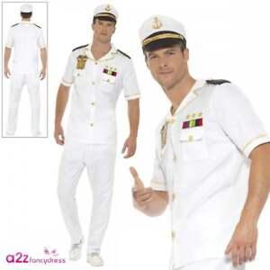 da8386646b4 Details about Mens Sailor Captain Costume Adults Navy Officer Uniform 80s  Fancy Dress Outfit