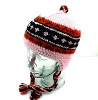 100% Wool Hand Knit Trapper Hat Himalaya Nepal Handmade Trooper Lined Pink