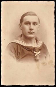 WW1-GERMAN-SAILOR-IMPERIAL-KRIEGSMARINE-WAR-NAVY-RPPC-ANTIQUE-PHOTO-POSTCARD