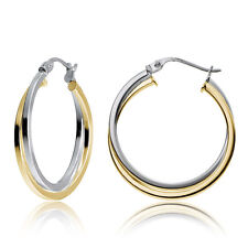 Yellow Gold Flashed Silver Two-Tone Intertwining Square Tube Hoop Earrings, 25mm