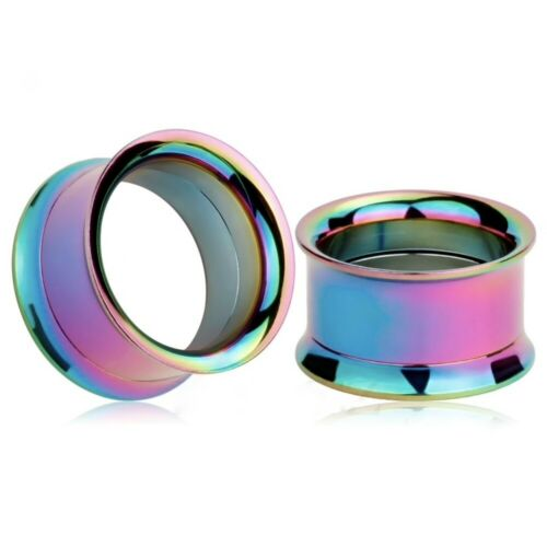 1x Double Flare Flesh Tunnel Steel Titanium Anodised Ear Plug Expander Stretcher