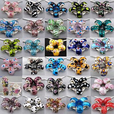 5pcs Pretty Silver Core Murano Lampwork Glass Fit Charm Bracelet  kj276