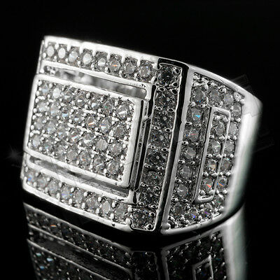 18K White Gold Silver Iced Out Hip Hop Championship Bling MICROPAVE CZ Mens Ring