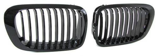 GLOSS BLACK BONNET GRILLS BMW E46 3 SERIES PRE-FACELIFT COUPE CONVERTIBLE 99-03