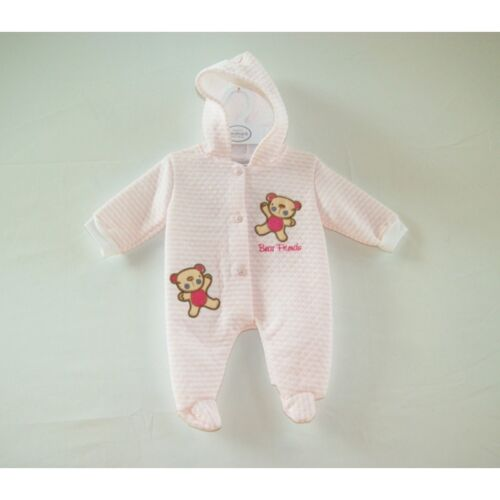 Bear Friends Hooded Suit outfit long sleeve NB 0-3 3-6 mths Baby all in one
