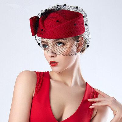 Red Veil Womens Fascinator Pillbox Felt Wool Cocktail Race Hat Formal Dress T166