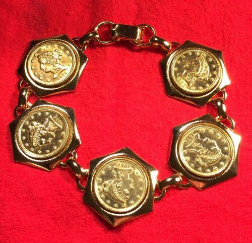 1865 USA Gold Liberty Head $2.5 Dollar Quarter Eagle Coin Bracelet Gift Box!