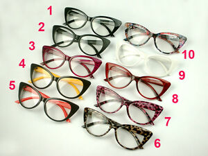 8afe686079 Image is loading Ladies-Sexy-Cat-Eye-Vintage-Plastic-Eyeglass-Frames-