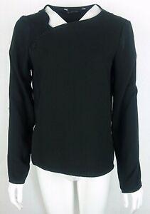 Zara-Basic-Collection-Black-Long-Sleeve-Women-039-s-Cotton-Formal-Top-Blouse-Size-M