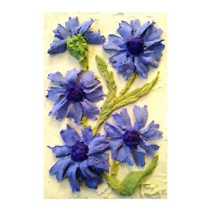Details about Cornflowers Sculptural painting Floral still life 6 x 4 inches