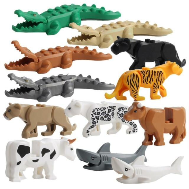 12PCS Crocodile Tiger Cow Buildable Model Kid Animal Building Block Kit Fit LEGO