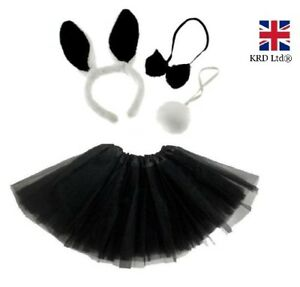 Cat Tail Set Black White Animal Tail Fancy Dress Party Outfit Accessory New UK