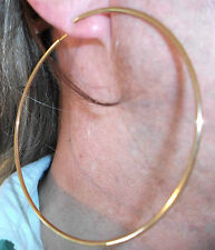EXTRA LARGE CLIP ON GOLD EARRINGS 9CM HOOP GIANT PAIR HOOPED NON-PIERCED EARS 3""