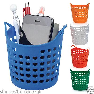 Round Wash Basket Style Pen Pot Stationery Holder Desk Organiser