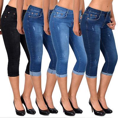 Donna Capri Jeans Con Crepe Capri Jeans Pantaloni Fino Misure Grandi J400-mostra Il Titolo Originale