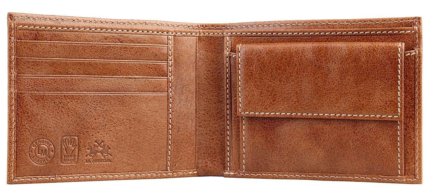 Leather Wallet 100% La Martina Man Slots Coin Door