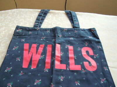 Jack Wills Tote Bag, Blue With Flowers And Wills On The Front, Ideal For Shops Facile Da Riparare