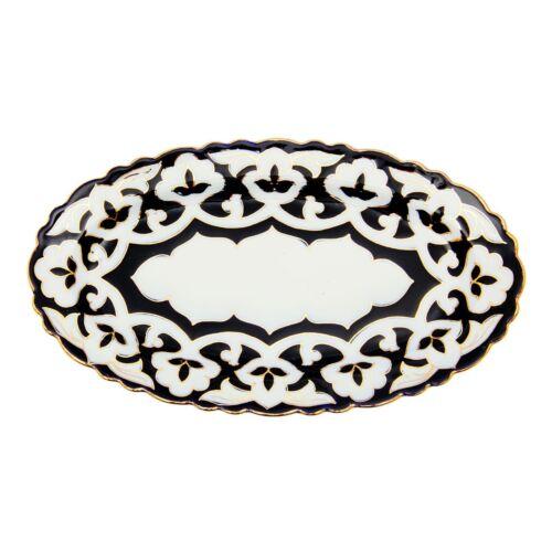 Pachta in Gold oval Porzellan Teller 29 x 16 cm Servierplatte Teller Geschi