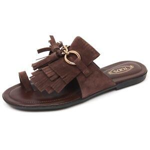 Sandalo Tod's C9098 Shoe Frangia Woman Donna Infradito Marrone Scarpa zqIFq