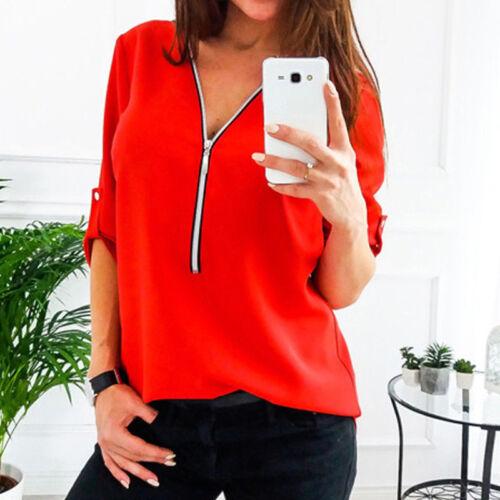 Women Casual Long Sleeve V-Neck Loose Long Chiffon Blouse T-Shirt