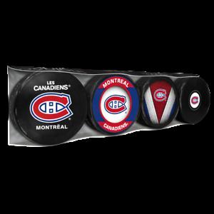 Montreal Canadiens Collectors Package of (4) NHL Team Logo Souvenir Hockey Pucks