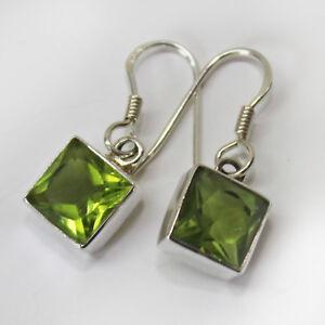 Peridot-Ohrringe-Silber-925-Ohrhaenger-Gruen-Elegant-Quadrat-facettiert-eckig-ts