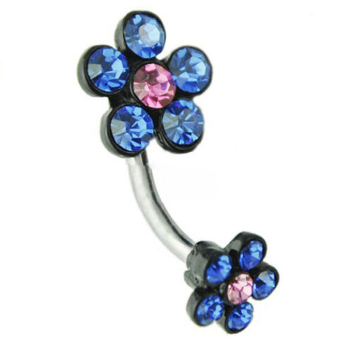 1pcs Belly Crystal Gem Navel Ring Surgical Steel Body Piercing Bar Jewellery