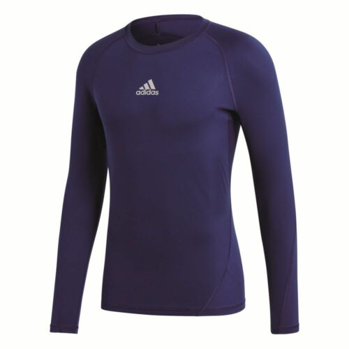 Adidas Kids Alphaskin Sports Football Soccer Long Sleeve Base Layer Top Dark Blu