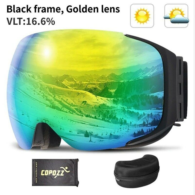 COPOZZ Brand Magnetic Ski Goggles  With Case Double Lens Anti-fog Ski Snow Glass  cheap sale outlet online