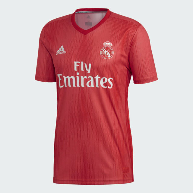 Mens adidas Real Madrid 3rd Kit Parley Jersey 2018/2019 Coral Red ...