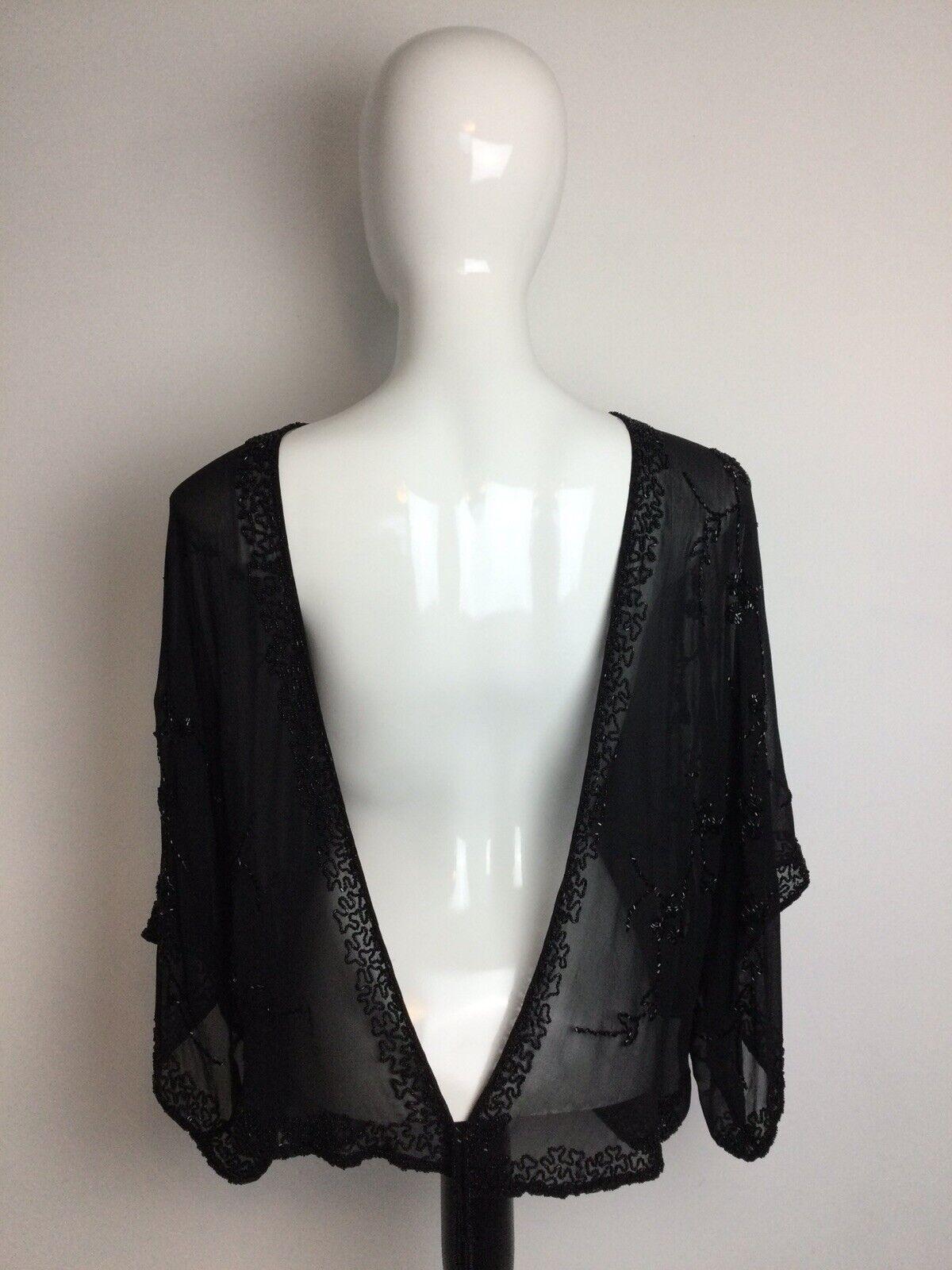 Scala 100% Silk Beaded Open Shawl Stunning Size L