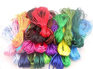 2mm Nylon Satin Chinese Knot Cord Macrame Rattail Braided kumihimo Thread Lots